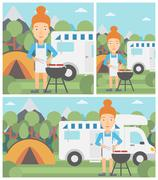 Woman having barbecue in front of camper van Stock Illustration