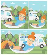 Woman lying in hammock in front of motor home Stock Illustration