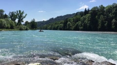 Rafting on the Aare river - stock footage