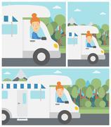 Woman driving motor home vector illustration Stock Illustration
