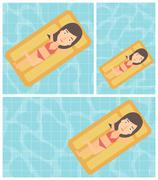 Woman relaxing in swimming pool Piirros