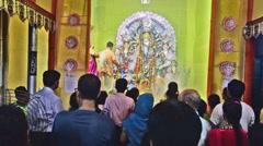 DSC 7820 Durga Puja aarti festival Hindu ritual-Kolkata Stock Footage