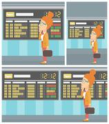 Woman looking at schedule board in the airport - stock illustration