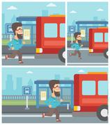 Latecomer man running for the bus - stock illustration