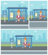 Woman waiting for bus at the bus stop Stock Illustration
