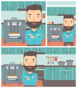 Man with three D printer vector illustration - stock illustration