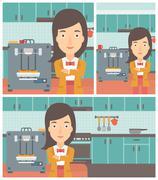 Woman with three D printer vector illustration - stock illustration