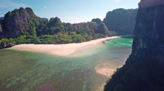 Aerial view on tropical beach and rocks Stock Footage