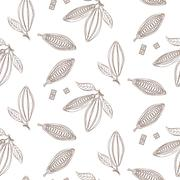 Cocoa beans outline seamless pattern. Chocolate monochrome background Stock Illustration