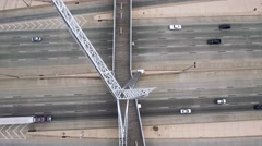 Aerial of Oklahoma City bridge Over Highway Stock Footage