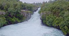 Aerial of Huka falls, Waikato river, taupo, New Zealand Stock Footage