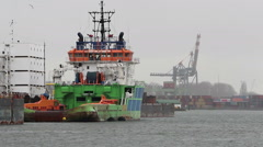 Tugboat Docked in Port - Container Terminal in the Rotterdam Harbor Stock Footage