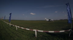 Timelapse runway. Parachutists. Skydiving Stock Footage