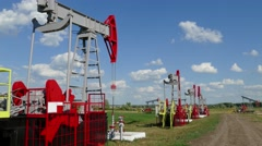 many working oil pumps in a row at sunny day, 4k - stock footage