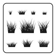 Grass bushes set plant - stock illustration