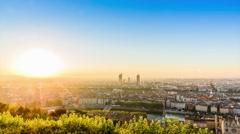 Timelapse sunrise. From Basilique Notre Dame de Fourvière to the city view. Stock Footage