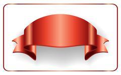 Red ribbon satin bow blank banner Stock Illustration