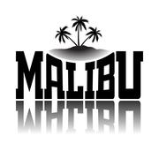 T shirt typography graphics Malibu Beach California - stock illustration
