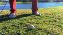Golfer flop shot from rough - stock footage