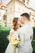 Beautiful fairytale newlywed couple hugging near old medieval castle Stock Photos