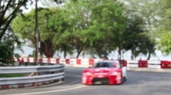 Racing cars enter into closeup turn in curve. Stock Footage