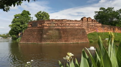Chiang Mai moat and ancient wall Stock Footage