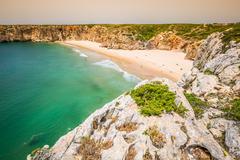 Beautiful bay and sandy beach of Praia do Beliche near Cabo Sao Vicente, Alga - stock photo