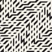 Vector Seamless Black and White Diagonal Techno Lines Irregular Pattern Stock Illustration