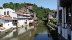 Village of Saint Jean Pied de Port in the French Pyrenees Stock Footage