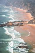 Sandy Castelejo beach, famous place for surfing, Algarve region, Portugal Stock Photos