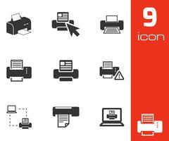 Vector balck printer icons set - stock illustration
