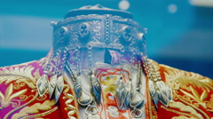 Middle-Asian traditional vintage accessory. Silver, gilding, semi-precious stone Stock Footage