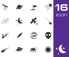 Vector black space icons set Stock Illustration