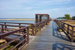 Baltic Sea Boardwalk Promenade at Hel Peninsula Stock Photos