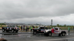 9 july 2016, Russia, Kazan, The SILK WAY RALLY 2016 - several SUV are at the Stock Footage