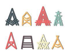 Capital letter A design set Stock Illustration
