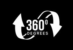 Angle 360 degrees view sign icon. Stock Illustration