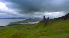 Dynamic sky over valley in Old man storr mountain in Scotland Stock Footage