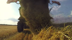 Combine harvester harvest ripe wheat on a farm - stock footage