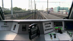 The view from the cab of a modern train locomotive. - stock footage