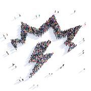 people lightning shape icon 3d - stock illustration