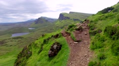 Mountain trail to the top of Quiraing on the Isle of Skye in Scotland Stock Footage