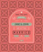 Vintage wedding invitation card template Stock Illustration