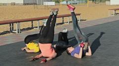 Fitness exercise - Leg Raise Drop Stock Footage