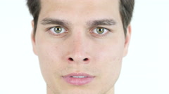 portrait of funny man, Blinking with Eye - stock footage