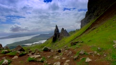 Mountain trail in the mountains Old Man of Storr in Scotland Stock Footage