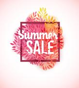 Summer sale watercolor flower decoration Stock Illustration