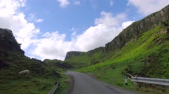 Road to the top of Quiraing mountain in Scotland Stock Footage