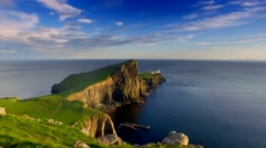 Beautiful sunset at Neist point lighthouse, Scotland, United Kingdom Stock Footage