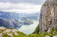 People hiking at the Pulpit Rock in lysefjorden Norway Stock Photos